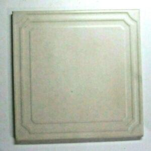 """Florida Tile USA 1970s FT 8"""" Embossed Porcelain Satin Beige 1 Floor Tile Vintage"""
