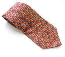 Irvine Park ORANGE and BLUE NECK TIE 100% SILK Vintage Necktie  Made in USA