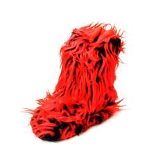 Rojo/Negro Mullido Yeti Estilo Zapatillas Botas