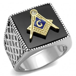 Mason's Stainless Steel 316 Two Tone IP Gold Jet Black Agate Masonic Ring  10