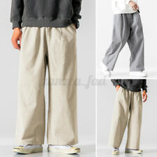 Mens Corduroy Cord Trousers Formal Wide Leg Pants Smart Casual Baggy Trousers