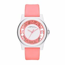 MARC JACOBS HENRY WHITE+SILVER,PINK CORAL SILICONE BAND SKELETON WATCH MBM4016
