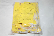 3 Section Perforated Numbered Yellow Repair Hang Tags Tickets Pre-Strung