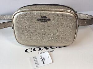 NWT Coach 39940 Belt Bag in Metallic Polished Pebble Leather
