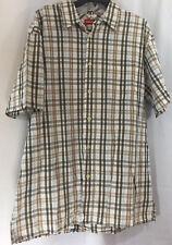 Union Bay 100% Cotton Brown White Plaid Button Front Shirt Men's Size XL