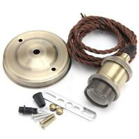 KINGSO Vintage Pendant Hanging Light Bulb Holder Socket E27 Brass Base w/2m Wire
