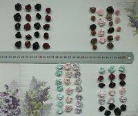 Satin ROSE Mixed Packs of 20 flowers - 12-15mm Across - 4 colour Choice VerCFrnt