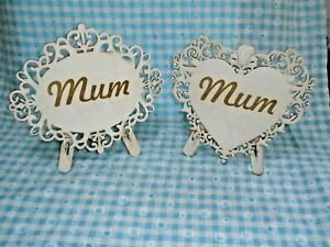 Wooden heart shaped plaque with stand- l engraved gift mothers day birthday