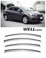 For 14-16 Kia Forte Sedan WellVisors Side Window Visors W/ Black Trim