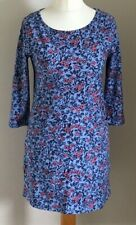 Laura Ashley Size 8 Ladies Blue Dress With Pink Floral Print & Pockets