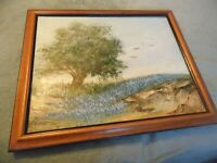 Vintage B Thompson Oil on Canvas Framed Painting Landscape Scene 16 x 20