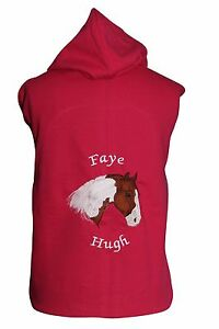 Personalised embroidered horse pony hoodie piebald skewbald change the colours