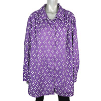 Roamans Womens Collared Purple Top Plus Size 3X Button Up Long Sleeve Cotton