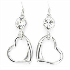 Heart Love Valentine 18K White Gold Plated CZ Dangle Earrings Pairs Jewelry Gift