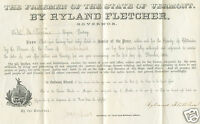 1856 VT GOVERNOR KNOW NOTHING BRIGADIER GENERAL RYLAND FLETCHER LAW COMMISSION