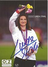 Autogramm Linda Stahl Leichtathletik WM Moskau 2013 Speerwurf Speerwerfen OZ
