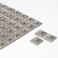 Diamante Me Silver Square Pattern Metallic Rhinestones Iron On 100 per pack