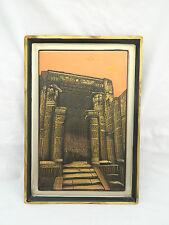 "Egyptian Brass Decor Rectangular Plaque Karnak Temple Luxor Entrance 12.75"" X 9"""