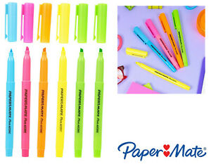 6 Paper Mate Chisel Tip Liquid Accent Highlighters Marker Pens Office Stationary