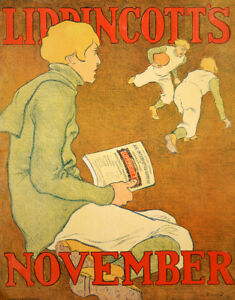 Original Vintage Magazine Cover Lipincott's November 1896 by Gould Football Fall