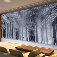 Winter Tree Leaves White Photo Wallpaper White Snow Mural Home Bedroom Deco
