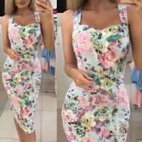Fashion Women's Floral Formal Business Work Party Prom Sheath Tunic Pencil Dress