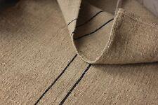 Antique GRAIN SACK vintage GRAINSACK old linen HEMP BLACK GRAY stripe