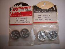 VINTAGE 2 PAIR (4 PCS)  OF 1/24 DYNAMIC MODELS POLISHED MAGNESIUM WHEELS NO. 601