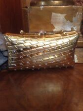 WOMEN'S GOLD STUDDED RHINESTONE HARD SHELL EVENING SMALL PURSE CLUTCH 3x6""