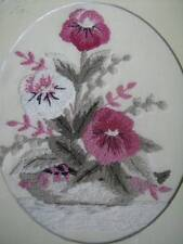 Finished Punch Embroidery Pink & White Flowers Design 7.25 x 9.5 Inches, + Frame