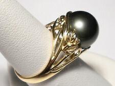 11.8mm Tahitian black pearl ring, diamond, solid 14k yellow gold.