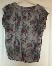 """New Look"" Transparent Top, Size 8, Grey/Purple floral design, Elasticated waist"