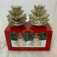 Home for the Holidays Silver Pine Cones Silverplate Candleholders 1995 Christmas