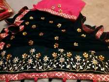 Rajasthani Bandhani Silk Bandhej Saree Gota Patti Border Traditional Sari