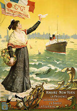 Cie gle Transatlantique havre New York la provence la Lorraine carteles a3 291