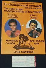 1980 SUGAR RAY LEONARD vs ROBERTO DURAN OLYMPIC STADIUM BOXING PROGRAM + TICKET