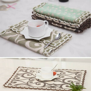 Non-Slip Lace Rectangular Dining Table Mat  Coffee Tea Cup Mat Drink Pad LC