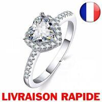 Bague Mariage Coeur Strass Mode Femme Bijoux Glamour Love Anneau Cadeau Fille