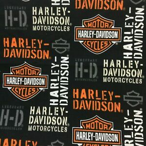 Gorgeous Harley Davidson Themed Fabric Remnant (55cm x 50cm)