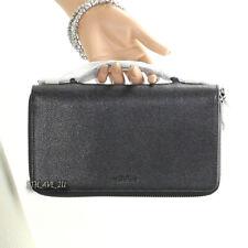 NWT Coach Men's Crossgrain Leather Double Zip Long Organizer Wallet F59114 Black