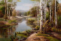 Home Decor Creek Landscape Oil painting Art Giclee Printed on canvas P1379