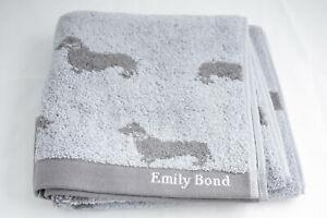 Emily Bond ~ DACHSHUND ~ hand guest towel BNWT blue 100% cotton sausage dog