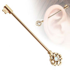 Opal Turquoise Industrial Bar Barbell Ring Cartilage Ear Stud Piercing Jewellery Cupid's Arrow Gem