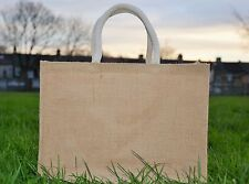 5 x Large Jute Hessian Shopping Bag with Luxury Padded Handles*Promotion Price**