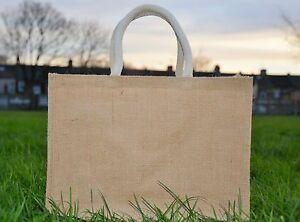 5 x Medium Jute Hessian Shopping Bag with Luxury Padded Handles