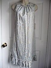 Elie Tahari 8 NEW Dress Silver Blue Jacquard Ruffled Hem Bohemian Elegant $500