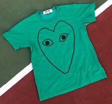 Comme Des Garcons Play t-shirt Men's Medium Green Heart Distressed Faded