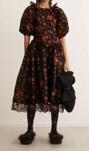 Simone Rocha X H&M HM Jacquard-Weave Silk-Mix Dress Black Floral 0 2 4 6 New