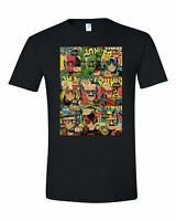 Stan Lee T Shirt Comic Book Cover Collage Rip Stan Lee Hulk Captain America Thor