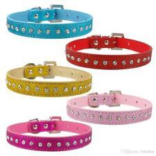 Bling Crystal Rhinestones Diamante Glitter PU Leather Puppy Dog Collar 5 Colours
